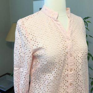 Susan Bristol Tops - Pink Eyelet Mandarin Collar Button Down Top S